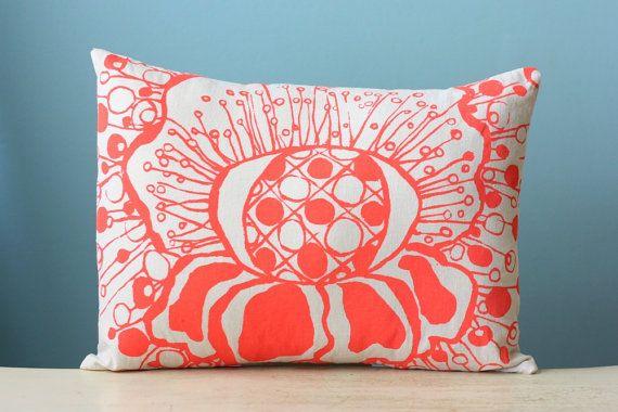 Pillow Cushion Cover Decorative Throw Polka Dot Flower Linen 12x16 Lumbar Floral Design Coral Orange Hand-Print Screen Print Gift