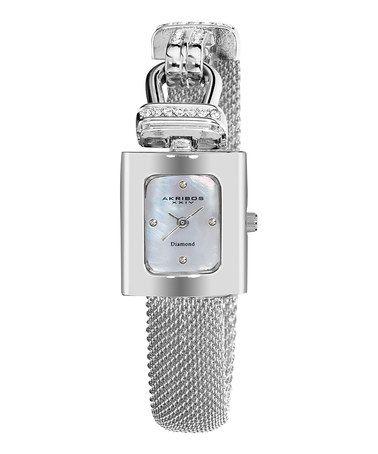 Another great find on #zulily! Silvertone & Diamond Mesh Bracelet Watch #zulilyfinds