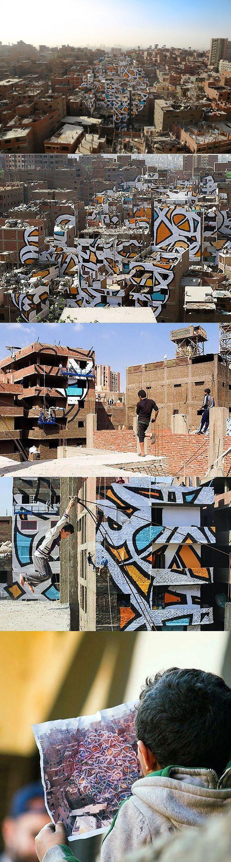 """""""Perception"""" by eL Seed in Cairo, Egypt: Arabische tekst """"om het zonlicht te zien, moet je eerst je ogen uitwrijven"""""""