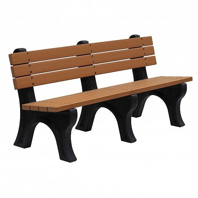 This bench seat with back is available in cedar, redwood or brown colours and, with it being high impact resistant, is a practical addition to playground equipment