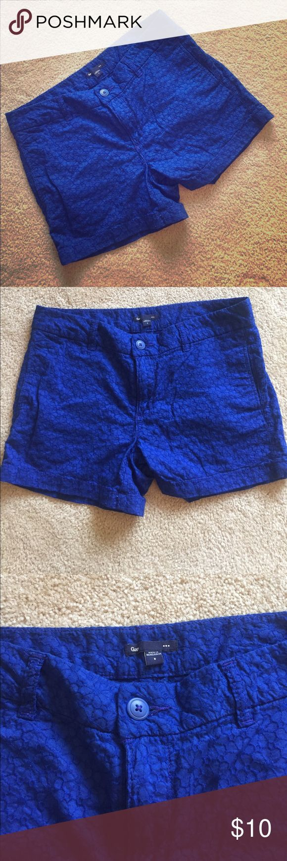 Gap blue floral shorts Bright cobalt blue, floral lace pattern. Gap factory. GAP Shorts