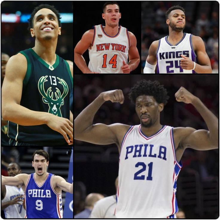 2017 NBA All-Rookie 1st Team: Malcolm Brogdon (G), Dario Saric (F), Willy Hernangomez (F), Buddy Hield (G), & Joel Embiid (C).