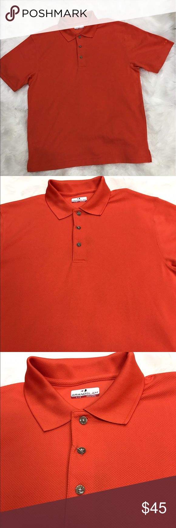 "Grand Slams Men's Golf Polo Shirt DriFlow. Easy care. SunFlow UPF 50. Short sleeve, pull over size large golf shirt. 28"" length, 22 1/2"" armpit to armpit, 20 1/2"" shoulder to shoulder. Grand Slams Shirts Polos"