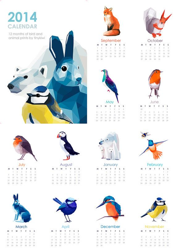 2014 Calendar, 20% OFF, Geometric illustration, Animal prints, Original illustrations.