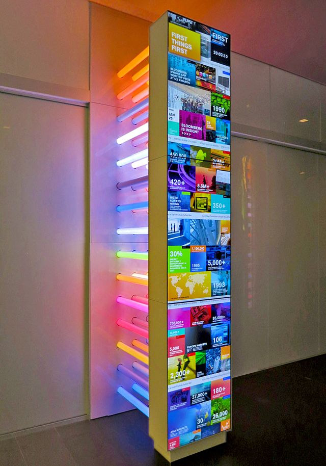 Bloomberg's NYC Headquarters Features Interactive Multitouch Table and Column - ScreenMedia Daily