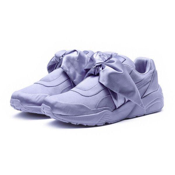 Fenty Puma by Rihanna Trinomic Bow Satin Platform Sneaker, Purple (9.100 RUB) ❤ liked on Polyvore featuring shoes, sneakers, puma trainers, puma footwear, platform trainers, bow shoes and purple platform shoes