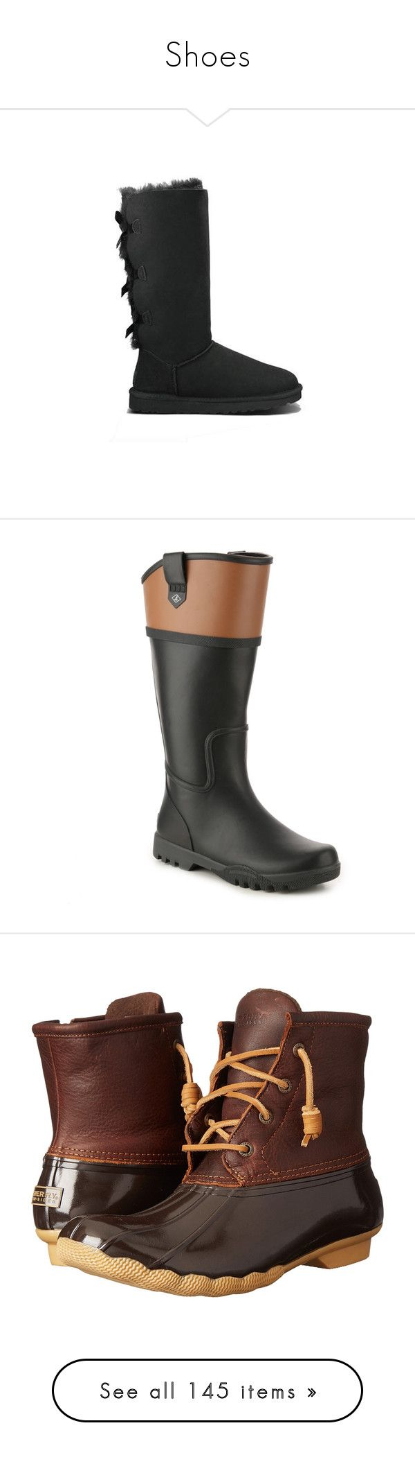 """""""Shoes"""" by thesabriner on Polyvore featuring shoes, boots, sperry shoes, rubber boots, sperry footwear, sperry, wellington boots, tan boots, dark brown leather boots and leather boots"""