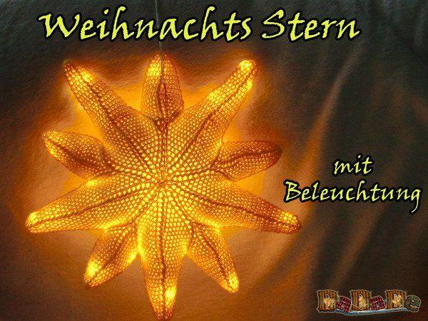 Weihnachtsbeleuchtung, beleuchteter Stern für das Kinderzimmer, gehäkelt von Dadade