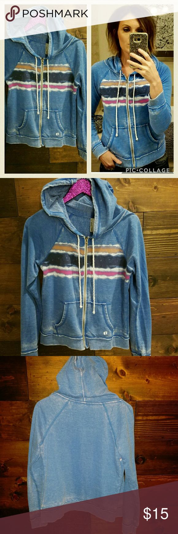 (Hang Ten) Blue striped zip up hoodie Comfy and stylish Hang Ten zip up hoodie with bold strips arocss the chest. Gently loved condition. Hang Ten Jackets & Coats