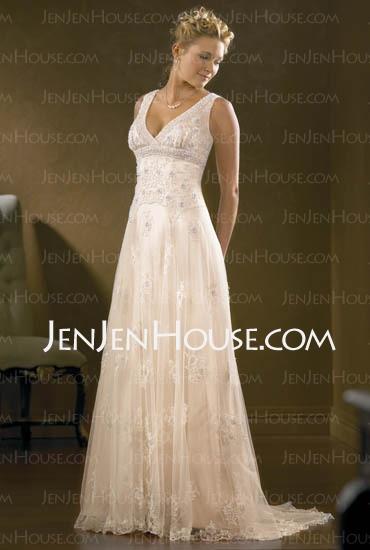Wedding Dresses - $196.49 - Charming A-Line/Princess V-neck Chapel Train Satin Tulle Wedding Dress with Lace Beadwork (002000313) http://jenjenhouse.com/A-line-Princess-V-neck-Chapel-Train-Satin-Tulle-Wedding-Dress-With-Lace-Beadwork-(002000313)-g313