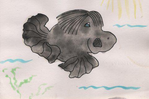 """""""Næsefisk"""". Watercolorc on paper. Akvarel på papir."""