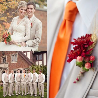 Persimmon wedding inspiration. Solid orange tie for the groom, and persimmon, orange, and white striped ties for the groomsmen.