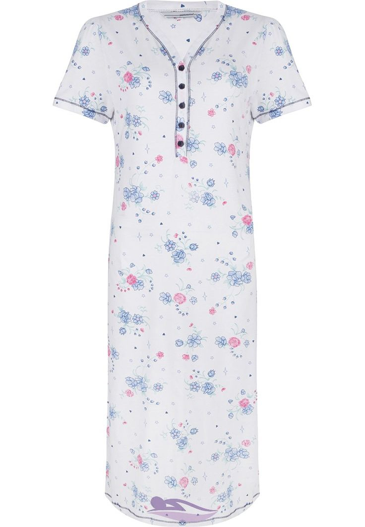 Pastunette 'Little Stars & Beautiful Flower Bunch' cotton nightdress with buttons