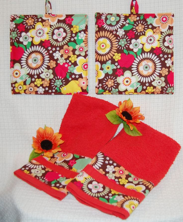 Bright Floral & Fruit Red Towels And Pot Holder Set with Sugar Blossom Sparky and Marie Designer Fabric from Quilting Treasures by AllenHeart on Etsy