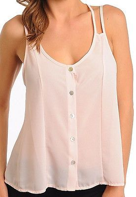 Criss Cross Back Scoop Neck Cami Tank Top Button Down Chiffon Double Strap Top $10.95