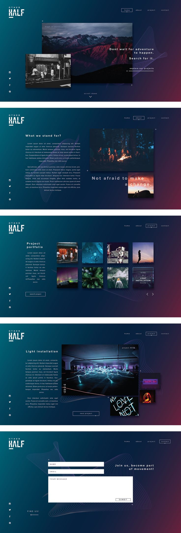 Other half - web design #web #design #gradient #modern #layout