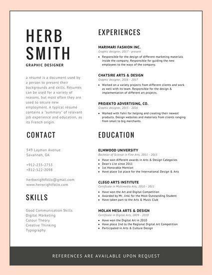 pink border modern resume