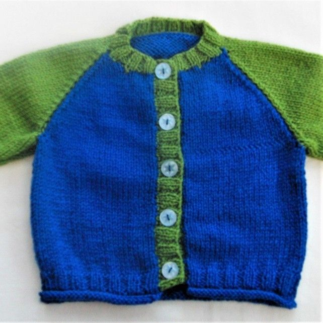 f5400ed49 Baby's Hand Knitted Two Tone Cardigan, Baby Shower Gift, New Baby Gift  £12.50