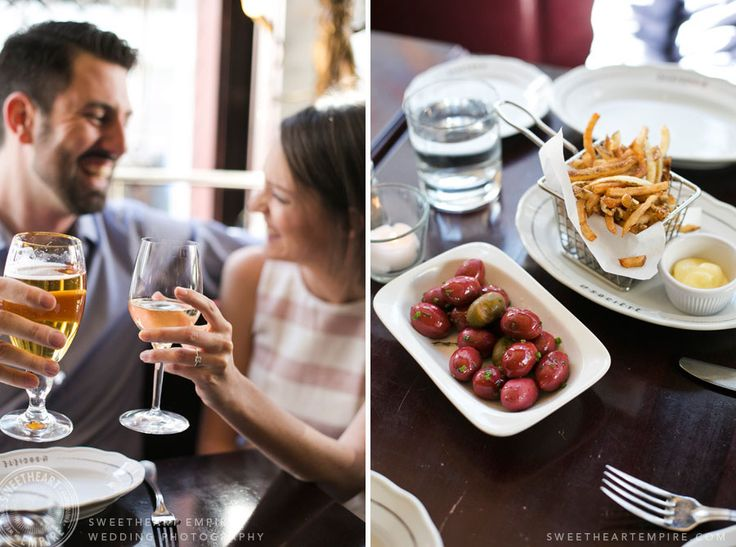 Cheers! Restaurant engagement photos at La Societe, Yorkville. Toronto wedding photography. #sweetheartempirephotography