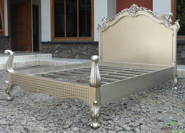 #Mahogany #French #Bed in #Antique Silver Finish Jimat by #NusaTeak  PIN: 7658A033 Call WA: 6281908021000 Inquiry: info@nusateak.com Site: NusaTeak.com  #Mebel #Furniture #Meuble #Home #Decor #Interior #FrenchBed #HomeDecor #MahoganyBed #AntiqueBed #Carvings #HomeInterior #Headboard #CarvingBed #Bedroom #BedroomFurniture #FurnitureDesign #InteriorDesign #Design #Etsy #Indonesia