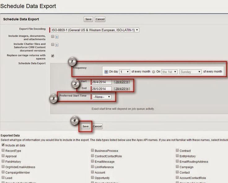 How To Schedule Data Export In Salesforce? Import Wizard - export contract