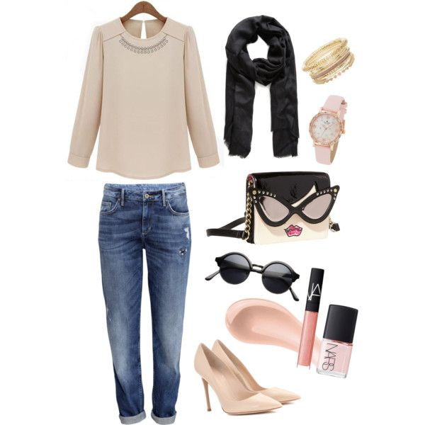 A fashion look from March 2015 featuring H&M jeans, Gianvito Rossi pumps and Betsey Johnson shoulder bags. Browse and shop related looks.