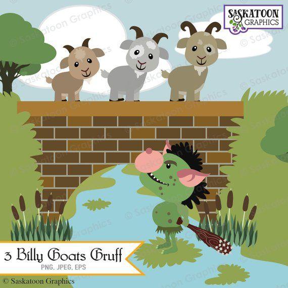 Drie Billy Geiten Gruff Clipart Instant Downloadbestand Etsy Billy Goats Gruff Three Billy Goats Gruff Clip Art