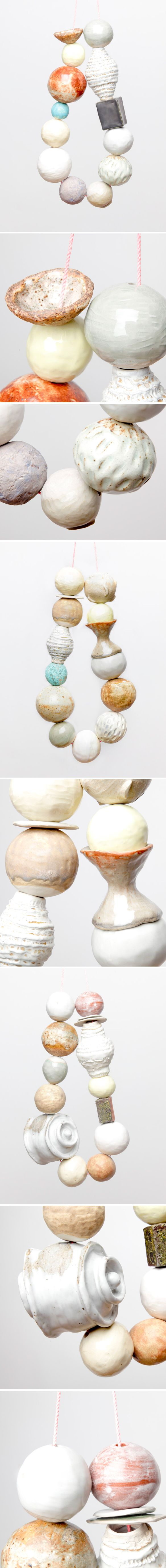 Stunning ceramic necklaces… that happen to be up to 3 feet in length. Amazing. This is the organic, delicate, beautiful, large-scale work of Seattle based ceramics artist Katy Krantz.