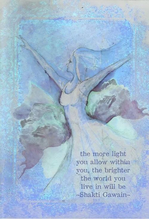 the more light you allow within you, the brighter the world you live in will be -shakti gawain-