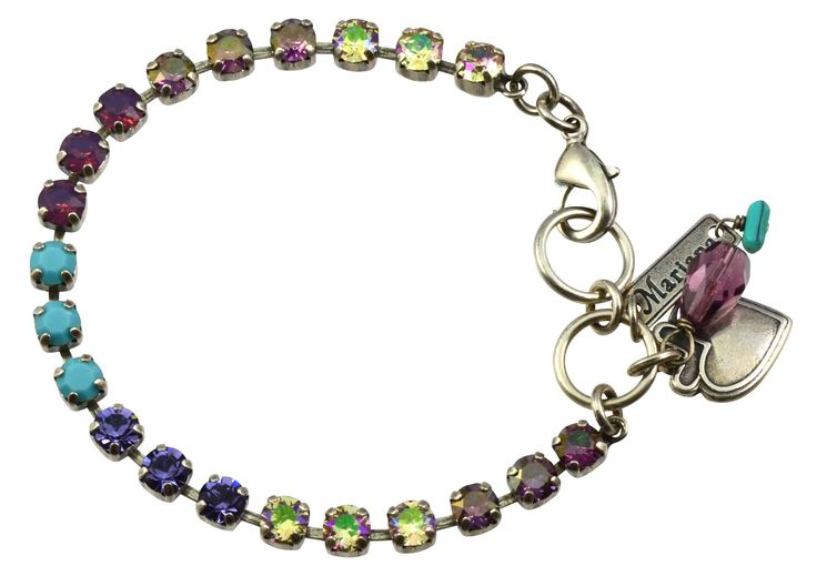 """Mariana """"Happiness"""" Silver Plated Swarovski Crystal Tennis Bracelet with Heart Pendant, 8"""""""