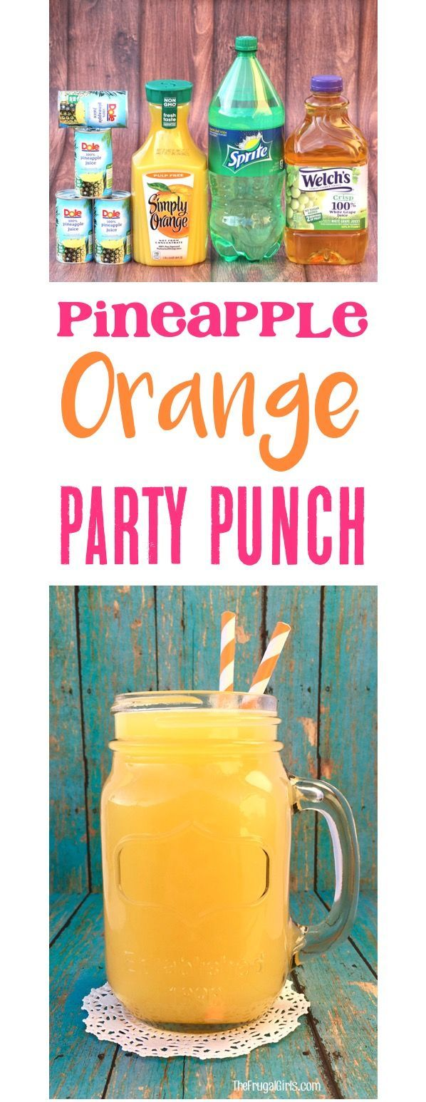 Pineapple Orange Punch Recipe! This EASY Party Punch is perfect for your showers, parties, and holiday brunch!  Just 4 ingredients and such a crowd-pleaser!! | TheFrugalGirls.com