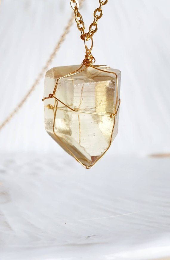Stone Necklace for Women November Birthstone Necklace Rough Natural Gemstone Necklace Boho Necklace in Gold Raw Citrine Crystal Necklace