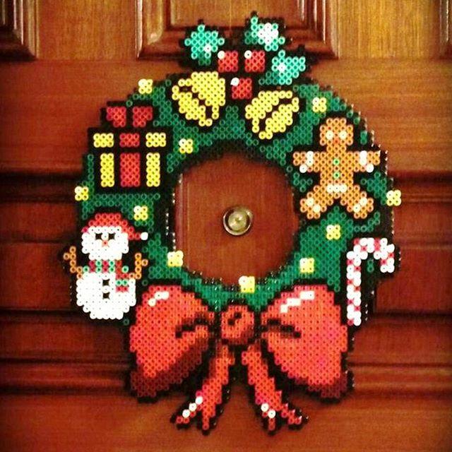 Christmas wreath perler beads by moonbowdesign