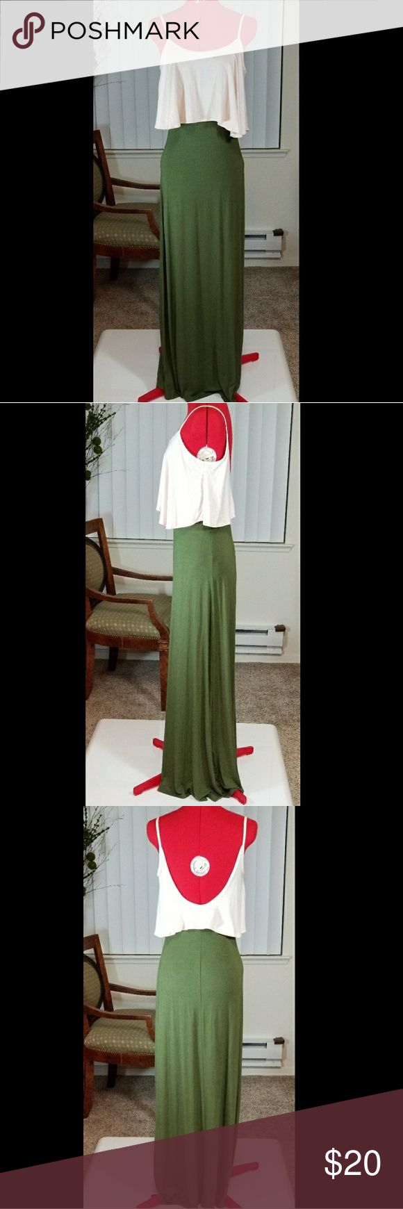 """UO Staring at Stars Maxi Dress Small Urban Outfitters-Staring at Stars  Maxi Dress Spaghetti Strap  Small Moss green and cream color Dress is approximately 56"""" from the straps.  *Dress form is red. Lighting may change the way the colors turn out on photo. Will take new photo in natural light soon. Staring at Stars Dresses Maxi"""