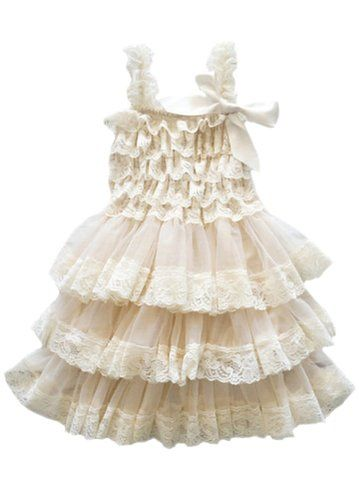 Horcute Lace Rustic Burlap Country Wedding Flower Girl Dress Beige XL