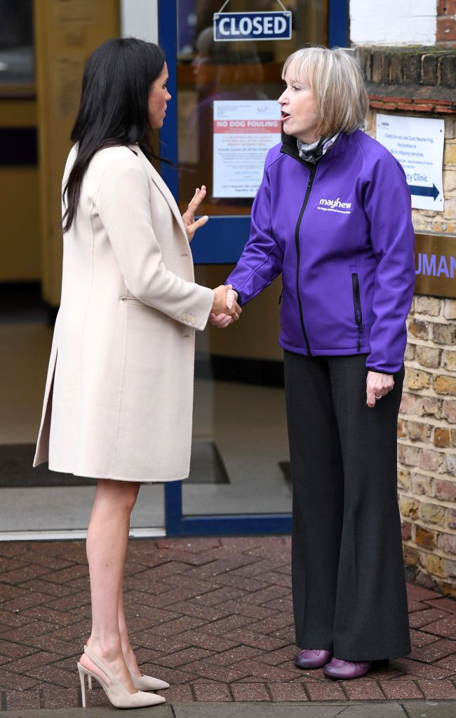 1b5a03254f218 Meghan, Duchess Of Sussex departs after visiting Mayhew Animal Welfare  Charity on January 16, 2019 in London, England. This will be Her Royal  Highness's ...