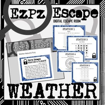 Students will have a blast with this Weather and Climate Escape Room! Students will use their knowledge of weather and climate to make an EzPz Escape! Students are required to answer station cards and use a decoder to get the code that will break them out of the digital room.