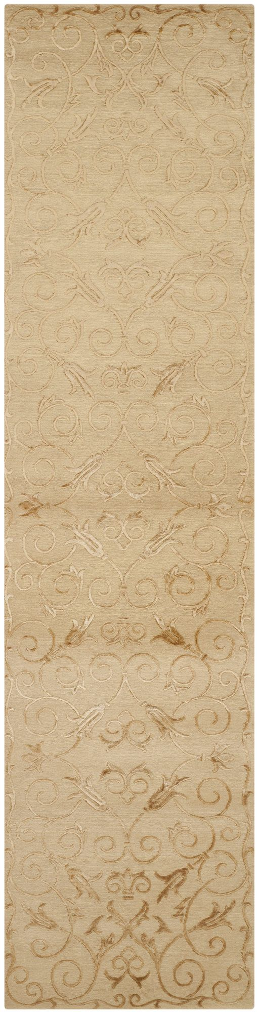 New Mills Hand-Knotted Light Gold Area Rug