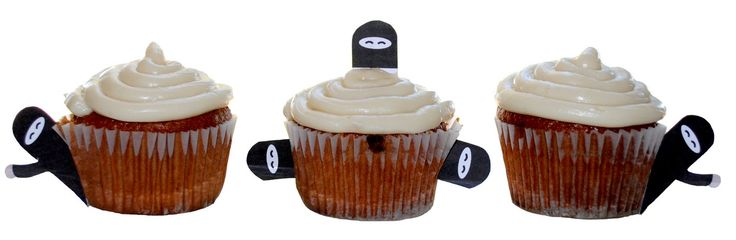 FREE Printable: Ninja Cupcake Toppers. Right click, copy, save, paste and print. You might need to scale the size of them. Once printed, cut out, tape to toothpicks and have fun. For the ninjas on top, make sure the printed part does not touch the frosting. You don't want ink running into the frosting.