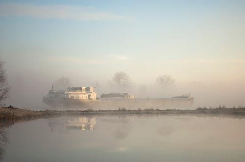 Boat on a misty morning