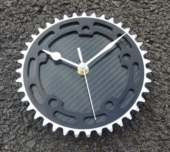 BMX gear wall clock cycling wall workshop clock - Silver & black carbon fiber OOAK guys bike gift