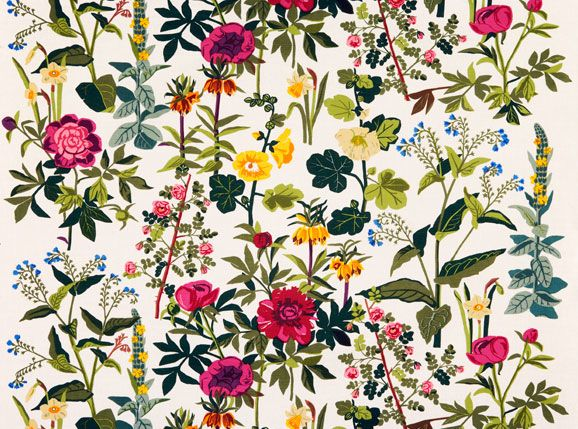"""Jobs Handtryck began hand printing textiles in 1944, debuting their collection to the public with a Stockholm department store exhibition titled """"when beauty came to town."""" Their printing methods remain unchanged, and their textiles are just as gorgeous as ever."""
