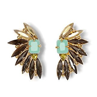 Fan Cluster Clip Earrings-If getting wings tops your wish list then you'll love the spread of marquise crystals on the Fan Cluster Clip Earrings. These gold-plated earrings add beautiful embellishment to your ear, no piercing need.