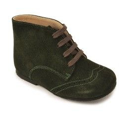 Green Suede Boys Lace-up Classic Children's Boots