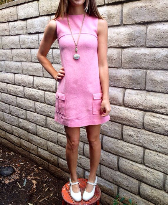 1960's  Vintage Pink Mod Dress w/two Front Pockets by Russ--Size:XS on Etsy, $28.00