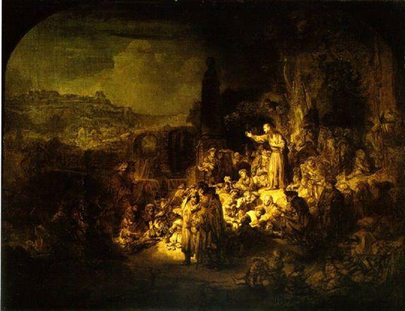 rembrandt saint jean baptiste prechant | Rembrandt de prediking van johannes de doper