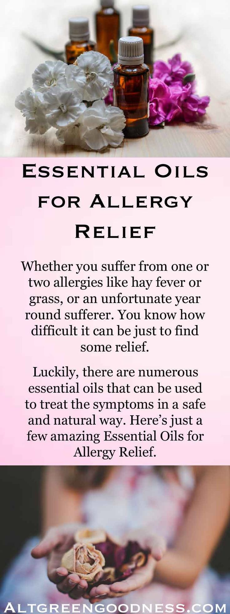 Allergy Relief with Essential Oils. From itchy eyes, runny nose, to more serious symptoms. Essential oils really can relieve the pain and irritation  from allergies. Lavender, lemon, and Tea Tree essential oils are just some that we look at. Find out more