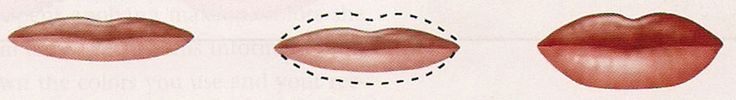 THIN UPPER & LOWER LIPS: Use a lip-lining pencil to outline the upper and lower lips to appear slightly fuller, but do not try to draw far over the natural lip line. Use a lighter color to make lips appear larger.