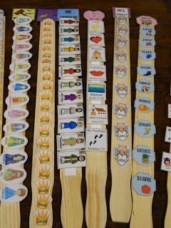 Use a paint stir stick and velcro...kids can put thing in the correct sequence or many other things.