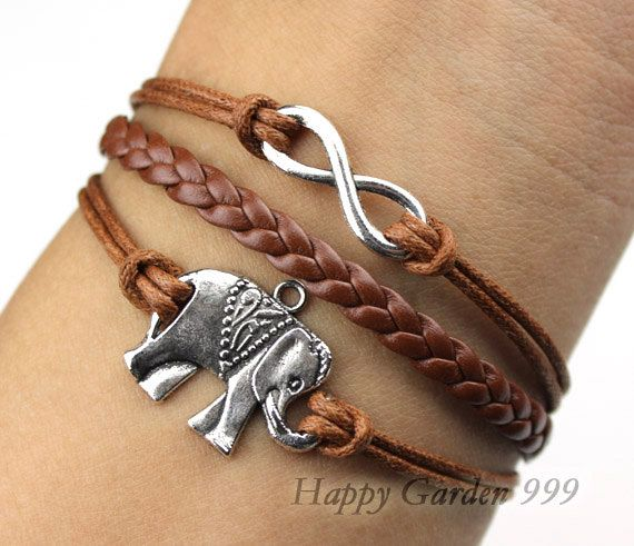 Infinity Bracelet Elephant Wax Cords And Imitation Leather B Adornments Pinterest Bracelets